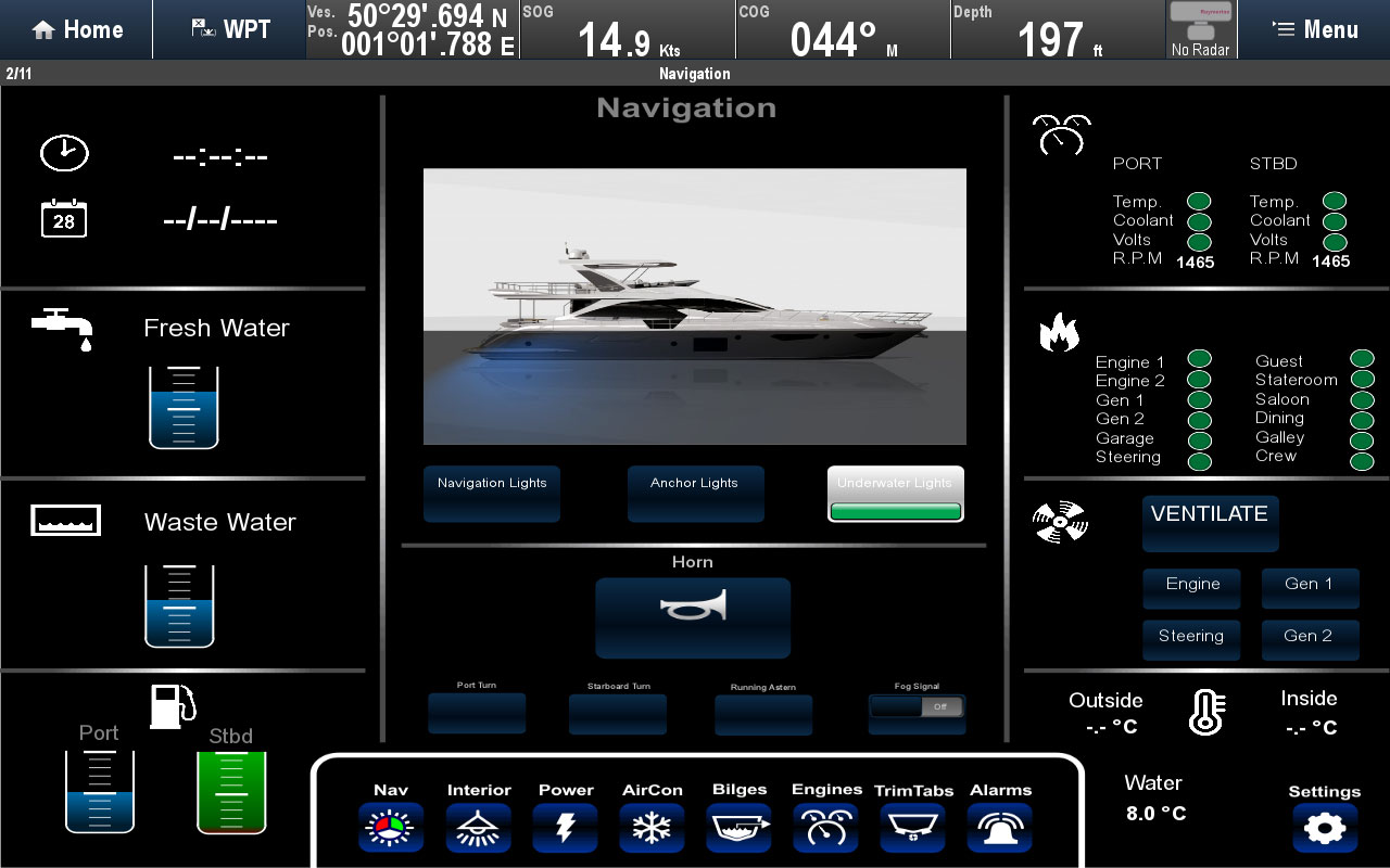 Digital switching delad skärmlayout | Raymarine by FLIR